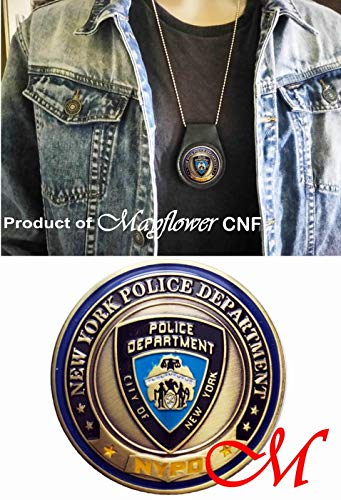 Mayflower CNF Coin &Leather Holder - Never Forget Fallen Officer from 911 Terrorist Attacks - Salute to NYPD Heroes, Let Freedom Ring, United We Stand, Limited ()