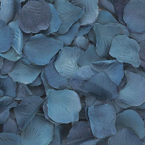Koyal Wholesale Silk Rose Petals Confetti, Navy Blue, Bulk 1200-Pack Wedding Flowers Table Scatter, Rose Petal Aisle Runner -