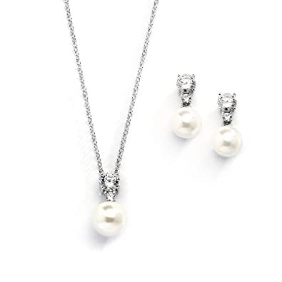 Mariell Cubic Zirconia Ivory Pearl Wedding Necklace And Earrings Jewelry Set For Bridesmaids Brides