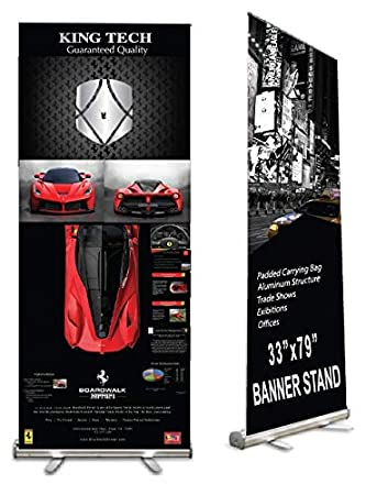 Amazon.com : King Tech Retractable Banner Stand, Roll up Banner Stand 33 x 79 for Trade Show, Aluminum Structure with Padded Carrying Bag, Banner Excluded ...