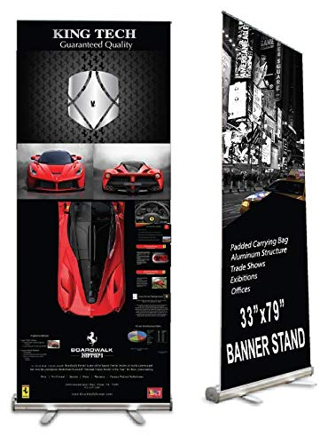 (King Tech Retractable Banner Stand, Roll up Banner Stand 33 x 79 for Trade Show, Aluminum Structure with Padded Carrying Bag, Banner Excluded)