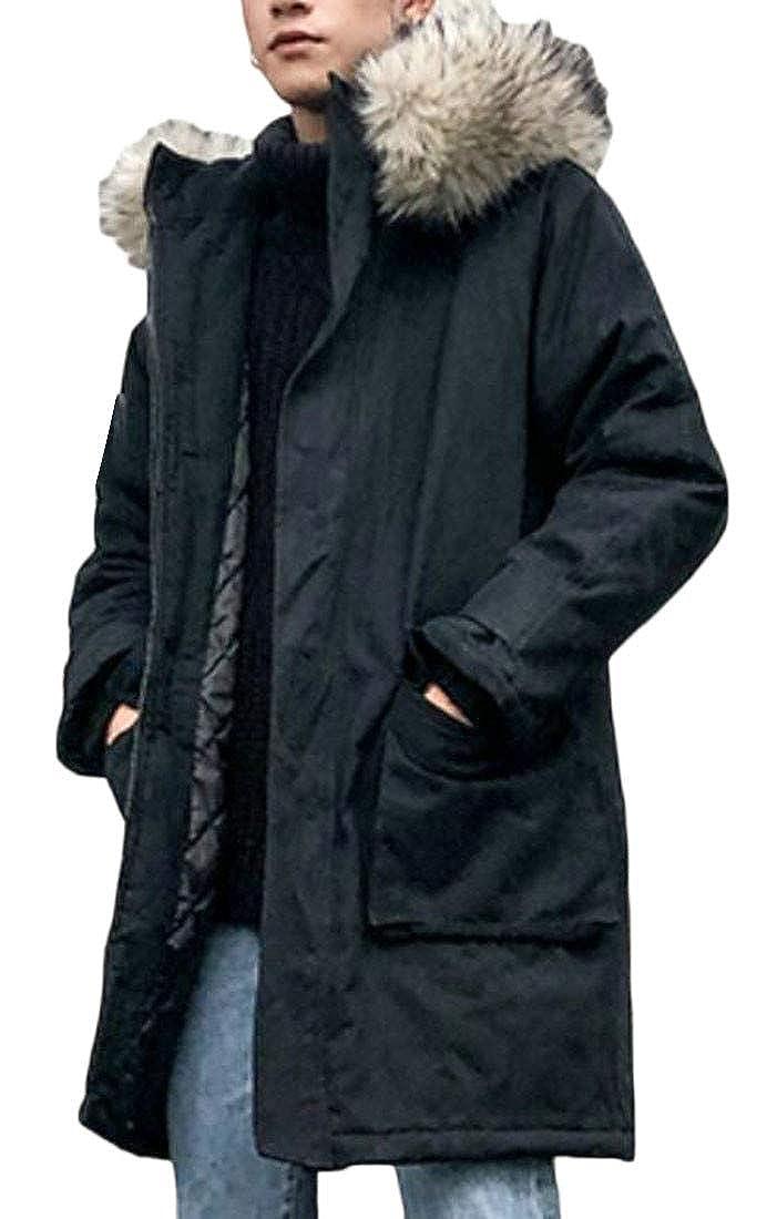 Lutratocro Men Padded Casual Hoodid Pocket Cargo Fleece Quilted Jacket Anoraks Parka Coat