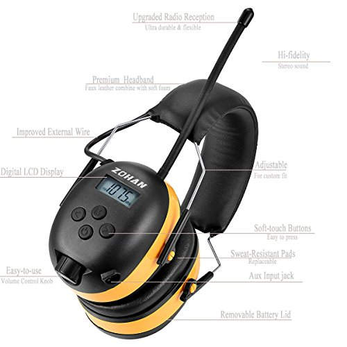 ZOHAN Digital AM/FM/MP3 Radio Earmuff, Noise Reduction Hearing Protector For Mowing, Snowmobiling, Sporting Events (Yellow) by ZOHAN (Image #3)