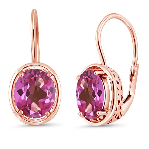 Gem Stone King 3.60 Ct Oval Pink Mystic Topaz 18K Rose Gold Plated Silver Dangle Earrings