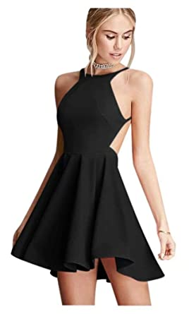 ea842d884a48 QueenBridal Simple Sexy Short Bridesmaid Dress A Line Short Prom Gown  Backless Homecoming Dress Black