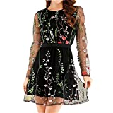 Women's A-Line Short Skirts Fashion Floral Embroidered Party Dress Lace Mesh Double Layer Mini Dress (S, Black)