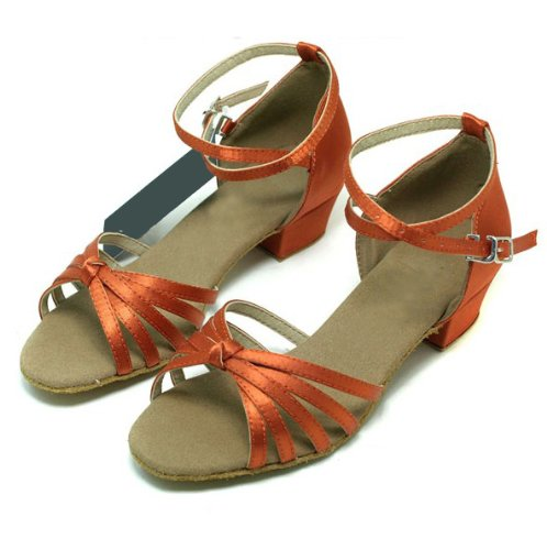 Colorfulworldstore Child girls latin dance shoes of satin Five Knot -Apricot color(EU28~EU35) apricot wxhr31