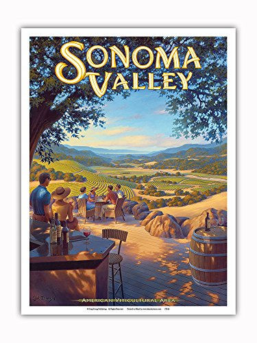Pacifica Island Art - Sonoma Valley Wineries - Kunde Family Estate - North Coast AVA Vineyards - California Wine Country Art by Kerne Erickson - Master Art Print - 9in x 12in ()
