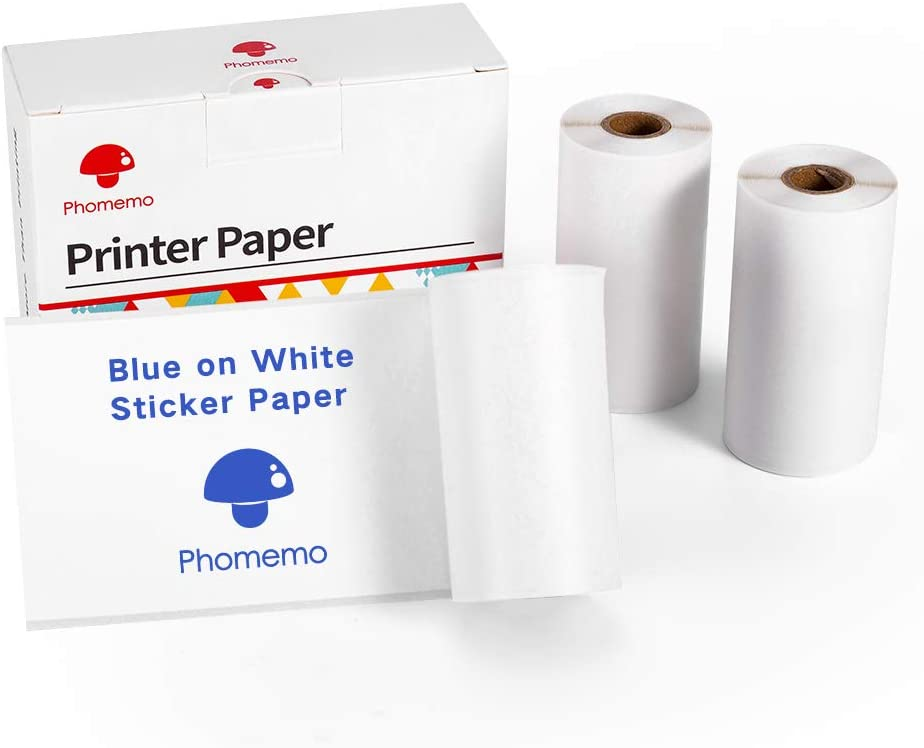 Phomemo Papel Adhesivo Térmico de Imagen Azul, 53mm X 3,5m para Mini Impresora Fotográfica Phomemo M02 / M02S / M02PRO, 3 Rollos en Total