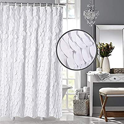 White Shower Curtain & Liner with 12 Shower Curtain Hooks. 72 x 72 Inch Eco Friendly 100% Polyester Fabric Farmhouse Shower Curtain Bathroom Set. Farmhouse Bathroom Décor by OHH! - 🚿 STYLISH: Elegant ruffle design that will suit any style; farmhouse, rustic, chic, modern or coastal. 🚿 ALL IN ONE SET: 1 x white shower curtain, 1 x white shower curtain liner and 12 x shower curtain rings. Don't waste time shopping around for individual items. 🚿 ECO FRIENDLY: Both liner and curtains are made from 100% polyester waterproof fabric meaning no vinyl smell. - shower-curtains, bathroom-linens, bathroom - 5167W6awf7L. SS400  -