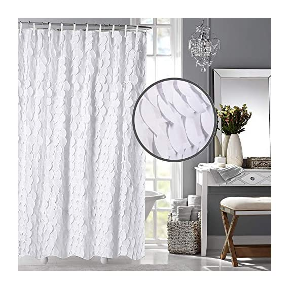 White Shower Curtain & Liner with 12 Shower Curtain Hooks. 72 x 72 Inch Eco Friendly 100% Polyester Fabric Farmhouse Shower Curtain Bathroom Set. Farmhouse Bathroom Décor by OHH! - 🚿 STYLISH: Elegant ruffle design that will suit any style; farmhouse, rustic, chic, modern or coastal. 🚿 ALL IN ONE SET: 1 x white shower curtain, 1 x white shower curtain liner and 12 x shower curtain rings. Don't waste time shopping around for individual items. 🚿 ECO FRIENDLY: Both liner and curtains are made from 100% polyester waterproof fabric meaning no vinyl smell. - shower-curtains, bathroom-linens, bathroom - 5167W6awf7L. SS570  -