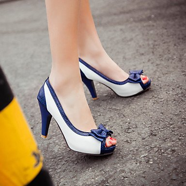 Talones de las mujeres Primavera Verano Otoño Otro PU de fiesta y noche del vestido ocasional de tacón de aguja del Bowknot Azul Rosa Blanco Beige Pink
