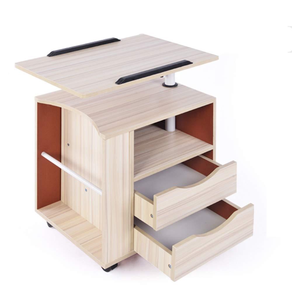 YNN ポータブルテーブル ノートパソコンのテーブルそれはベッドサイドのテーブルを上げることができます崩壊のベッドサイドテーブルのストレージロッカーサイドの引き出し (色 : White maple)  White maple B07PRN441F