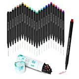 TEMEISI Colored Pens, 24 Count Assorted Colors Fineliner Color Pens Set, Colored Fine Point Bullet Journal Pens, Water Brush Pens for Sketch Writing Drawing Markers Coloring Book Note Calendar