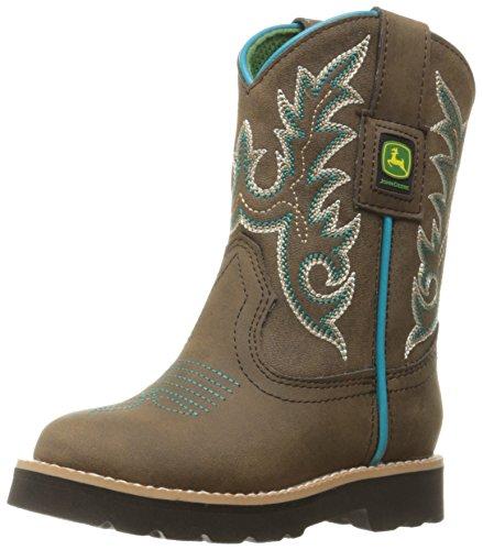 John Deere CHI DIST/Turq Trim PO Pull-On Boot, Brown/Turquoise, 12 M US Little Kid