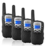 Bobela Walkie-Talkies 4 Pack for Adults Travel - T-388 Black Handheld Walky-Talky with Flashlight for Parents Kids - 2-Way-Radio with Mic PTT Clip Long Range for Baby Teen Boy Girl Him Family as Gifts