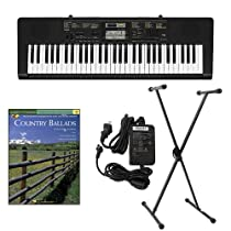 Casio CTK2400 61-Key Keyboard Deluxe Package with Casio Keyboard Adapter, Keyboard Stand & Country Ballads Easy Piano Play Along Book