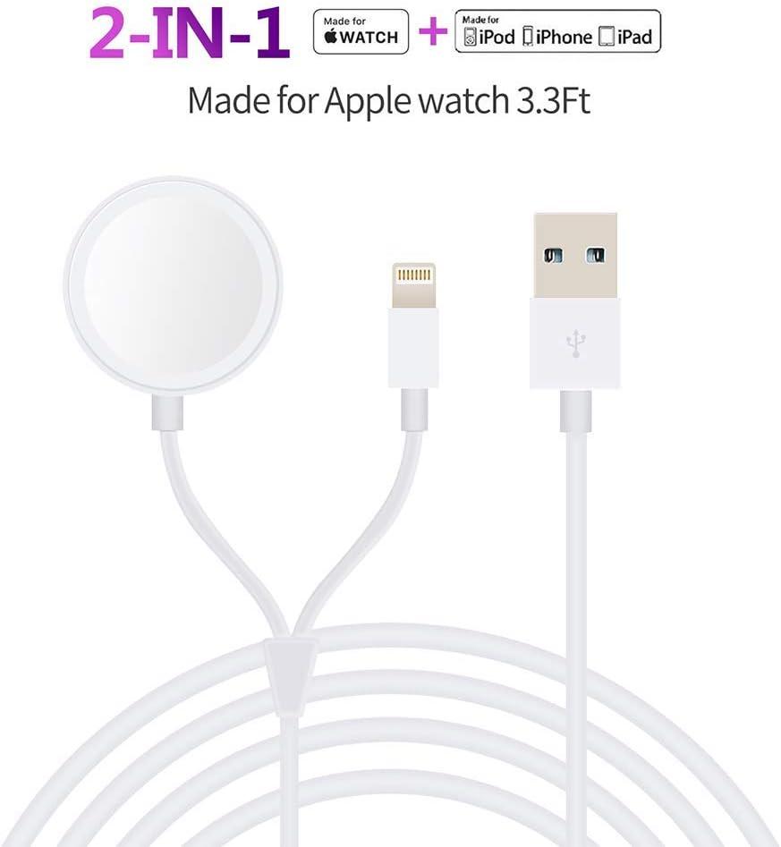MASOMRUN iWatch Chargeur,Chargeur de Portable sans Fil magnétique Chargeur Câble de Charge pour iWatch Série 1 2 3 4 5,Chargeur Câble pour iPhone