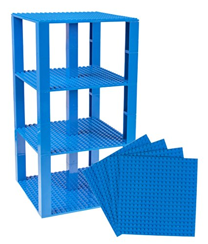 Strictly Briks Classic Baseplates 6 x 6 Brik Tower 100% Compatible with All Major Brands   Building Bricks for Towers and More   4 Blue Stackable Base Plates & 30 Stackers