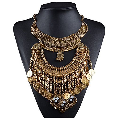 Lanue Vintage Choker Coin Tassels Hippie Boho Bib Statement Necklace Festival Gypsy Jewelry (Gold)