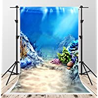 5x7ft Blue Photography Backgrounds Scenery Under Sea Backdrop Children Photo Booth Backdrops