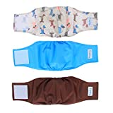 Teamoy Reusable Wrap Diapers for Male Dogs, Washable Puppy Belly Band Pack of 3 (S, 10''-13''Waist, Light Blue+ Dogs+ Coffee)