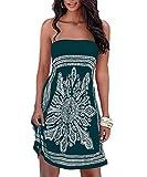 Women Swimsuit Cover Ups Dress Bohemian Floral Off Summer Dress Green M