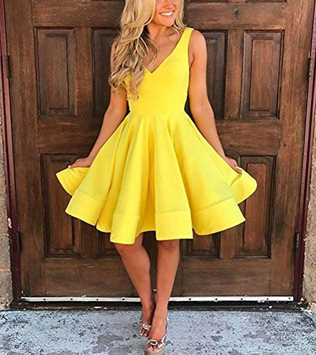 A Neck Dress Short Sexy Homecoming DreHouse line Backless Yellow Prom V Dresses BTw7qtd