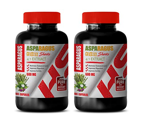 Blood Pressure Natural Pills - Asparagus 600 Mg Young Shoots 4:1 Extract - antioxidant Supplement for Skin - 2 Bottles 200 Capsules