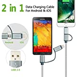 Charlemain 2-in-1 Lightning and Micro USB Cable 6 Long Nylon Braided High Speed Sync and Charging Cable Cord for iPhone 7 6S 6 Plus/5S, iPad /iPod, Android Samsung, HTC, LG and More - 3 Piece
