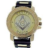 Master Mason Freemasonry Watch Black Bullet Band Big Face Gold Tone Bling