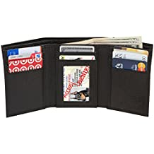 Access Denied Mens RFID Blocking Trifold Wallet with ID Window (Black Pebble)