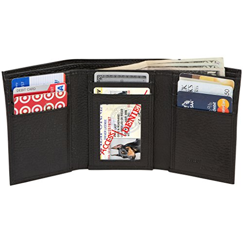 Access Denied Mens RFID Blocking Trifold Leather Wallet with ID Window (Black Pebble)