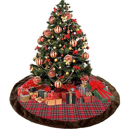 Shelly 45 Inch Red Black Buffalo Lattice Tree Skirt 45 Inch Decor Decorative Crafts Christmas Tree Plush Skirt Ornaments