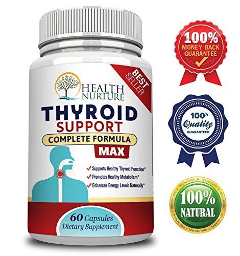 HEALTH NURTURE THYROID SUPPORT MAXIMUM STRENGTH- Best Thyroid Support - Promotes Healthy Energy, Metabolism, Mental Clarity & Focus : Vitamin B12 Complex, Zinc, Selenium, Ashwagandha, Copper, Coleus F by Health Nurture