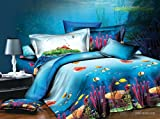 ocean sheets - Bednlinens Luxury 4 Piece Sheet Set 3d Corals and Fishes Print Queen King (King, CORALS-D07)