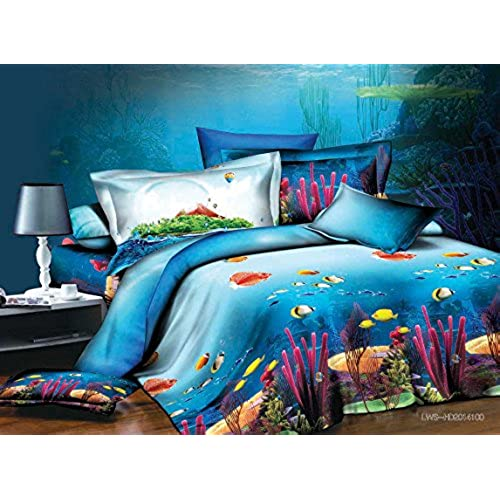 Bednlinens Luxury 4 Piece Sheet Set 3d Corals And Fishes Print Queen King  (King, CORALS D07)