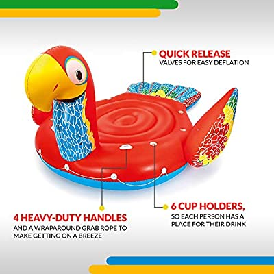 Bestway H2OGO! Giant 20FT Inflatable Parrot Pool Lake Summer Party Float with 6 Cup Holders/Handles/More, Red/Yellow/Blue: Toys & Games