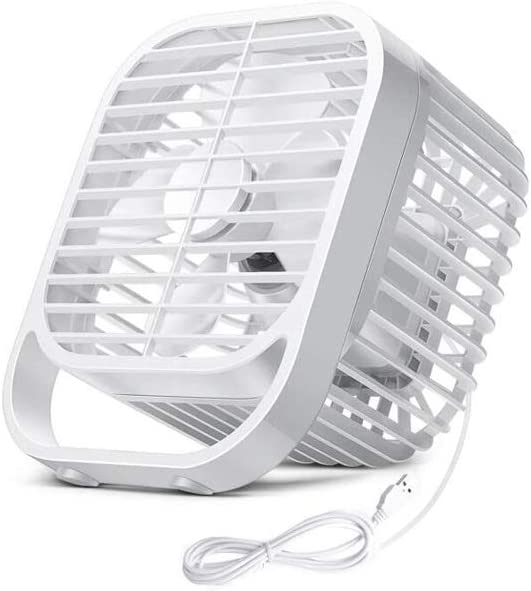 QXX USB Plug-in Small Fan Mute Portable 8 Inch Strong Wind Four-Leaf Fan Student Dormitory Office Home White