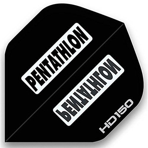 3 Sets of Standard Size Pentathlon HD150 Dart Flights Black