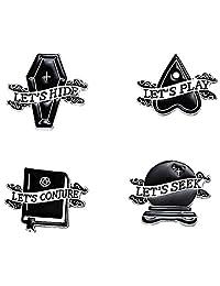 Cute Enamel Pin Set, 4 Pieces. Dark Arts, Conjure,Coffin, Ouija, Crystal Ball.