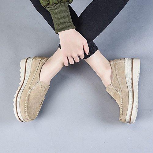 5cm Lily999 Slip Platform Zeppa On Low Scarpe Wide Comfort Khaki Mocassini Heel Top Scamosciati 7UH7rqx