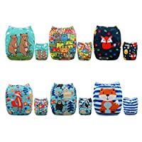 Alva Baby 6pcs Pack Fitted Pocket Washable Adjustable Cloth Diaper with 2 Ins...