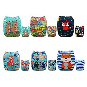 ALVABABY 6pcs Pack Fitted Pocket Washable Adjustable Cloth Diaper with 2 Inserts Each (Boy Color) 6DM07D