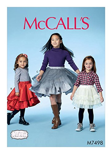 MCCALLS M7498 GIRLS Girls' Tiered and Ruffled Skirts (SIZE 3-6) SEWING PATTERN