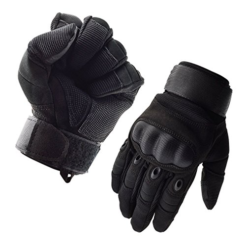 GEREE Motorcycle Gloves Full Finger Touchscreen Cycling bike Non-slip windproof Gloves and Men's Hard Knuckle for Outdoor Sports Military Tactical Airsoft Smart Gloves Black (XL)