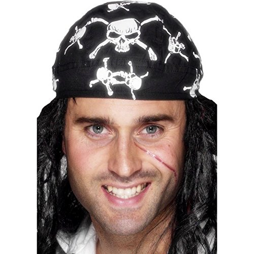 [Smiffys Skull & Crossbones Design Pirate Bandana (One Size) (Black/White)] (Zoolander Costume Design)