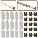 XLX 15 Set(30pcs) Billiard Cue Pure White Ferrules with Super Cue Screw-on Replaceable Tips(12mm Brown Tip Set)