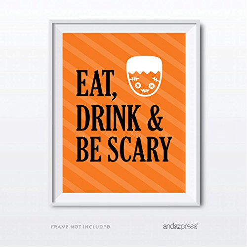 Andaz Press Classic Black and Orange Halloween Party Collection, Eat, Drink and Be Scary Party Sign, 8.5 x 11-inch, 1-Pack
