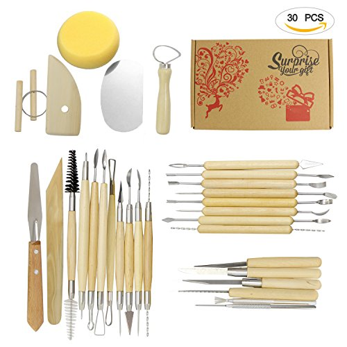Clay Sculpting Tools Ecooltek 30PCS Wooden Handle Pottery Clay Sculpture Modeling Kit Carving Tool Set for Ceramic Hobby Art Projects Crafts Model (Moulding Kit)